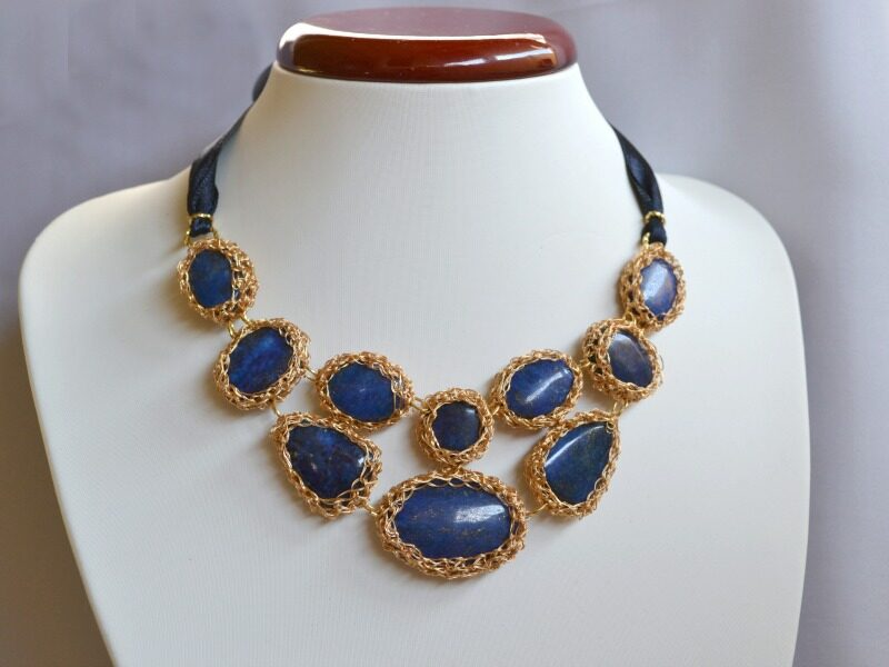 colier statement lapis lazuli