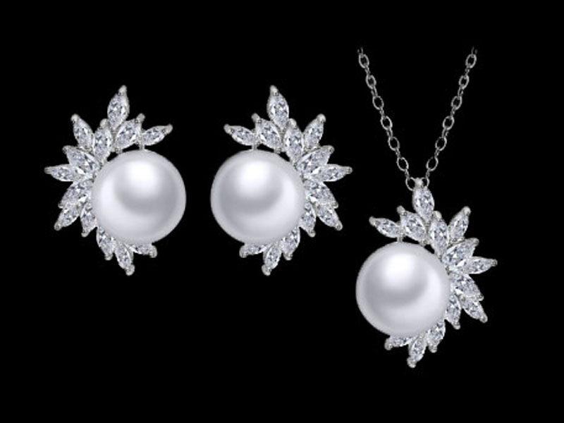 set bijuterii perle, bijuterii mireasa, set mirese