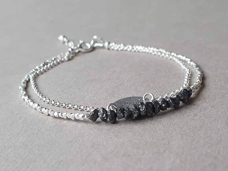 bratara argint diamante brute