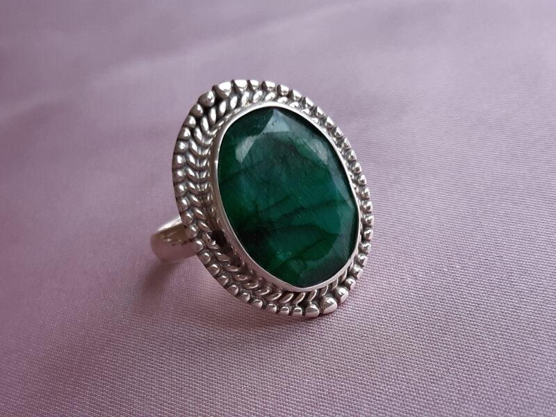inel smarald argint