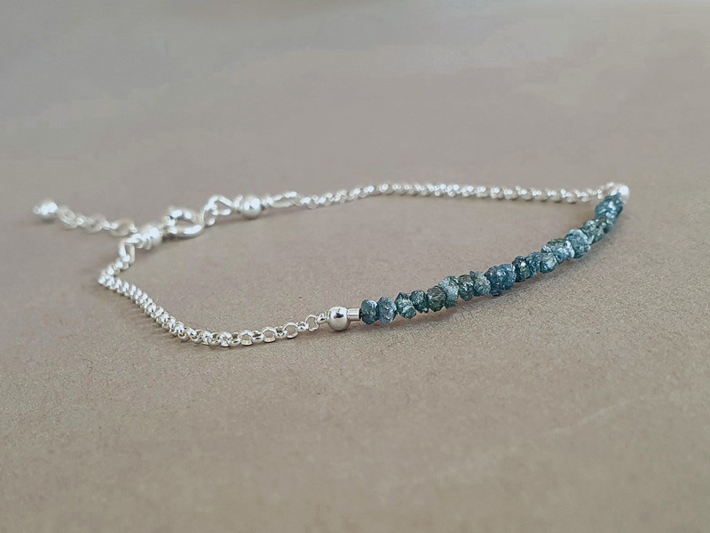 bratara diamante brute albastre
