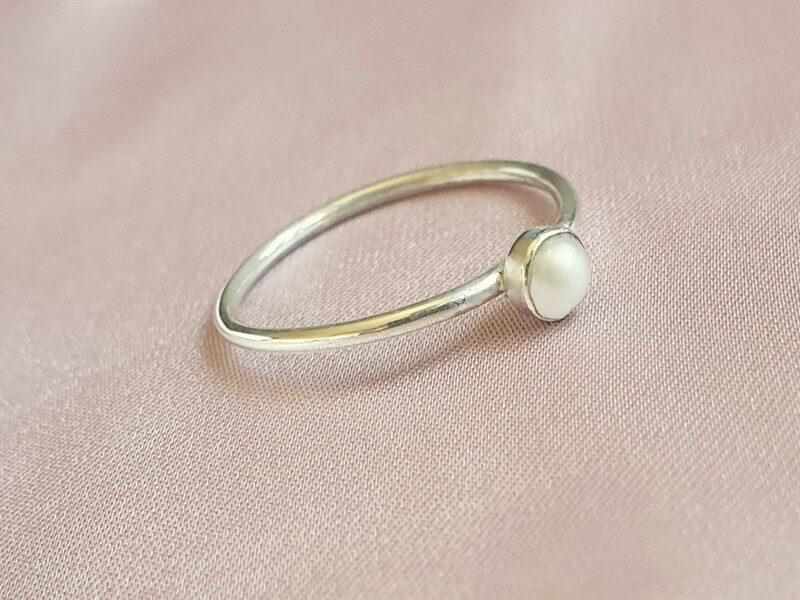 inel argint perla stacking