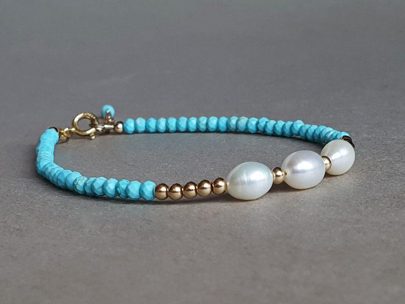 bratara turcoaz perle