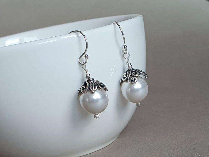cercei perle argint